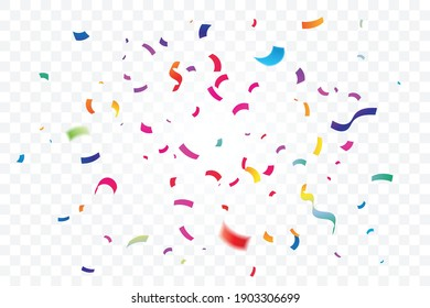 Many falling colorful confetti isolated on transparent background. Celebration banner. Vector