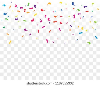 Many Falling Colorful Tiny Confetti Isolated On Transparent Background. Vector
