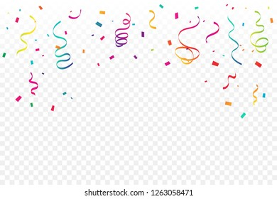 Many Falling Colorful Tiny Confetti And Ribbon On Transparent Background. Celebration Event and Party. Multicolored. Vector