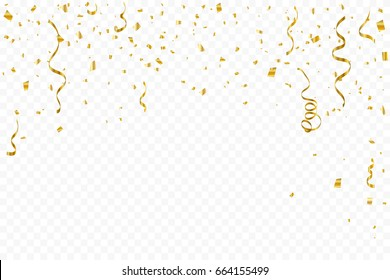 Many Falling Golden Confetti With Ribbon Falling On Transparent Background. Celebration Event & Party. Vector