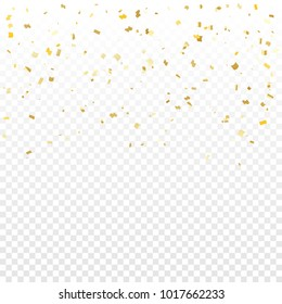 Many Falling Golden Tiny Confetti On Transparent Background. Vector