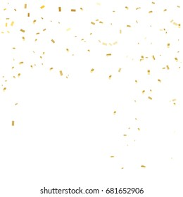 Many Falling Golden Tiny Confetti On White Background. Vector