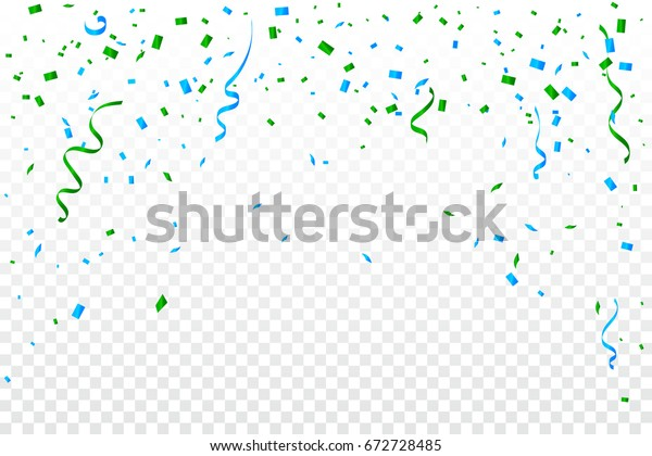Many Falling Green And Blue Confetti With Ribbons On Transparent Background. Celebration & Party. Vector