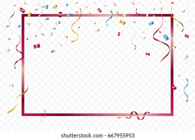 Many Falling Luxury Colorful Confetti And Ribbon With Frame On Transparent Background. Celebration Event and Party. Multicolored. Vector