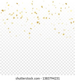 Many Falling Luxury Golden Confetti.  Birthday & Celebration. Vector Illustration