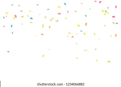 Many Falling Pastel Colorful Tiny Confetti Isolated On White Background. Vector