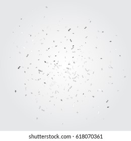 Many Falling Silver Tiny Confetti Isolated On Gray Background. Vector