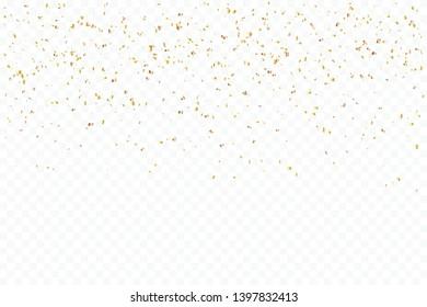 Many Falling Tiny Luxury Golden Confetti.  Birthday & Celebration. Vector Illustration
