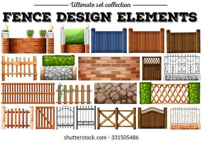 Many fence design elements illustration