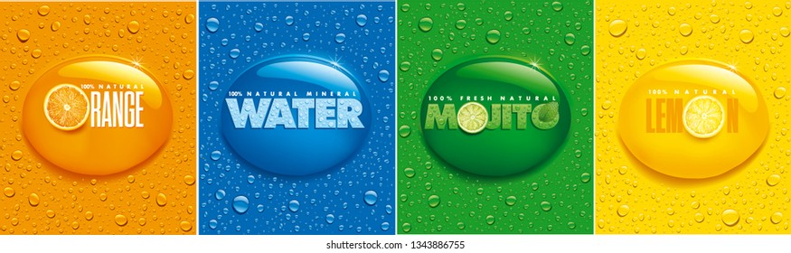 many fresh drops on different color backgrounds with lemon, orange, mojito, water