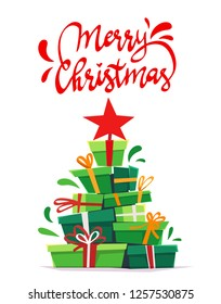 a lot many gifts stack triangle like Christmas tree form with red star . green red white cartoon vector illustration of party invitation or print holliday greeting isolated on white