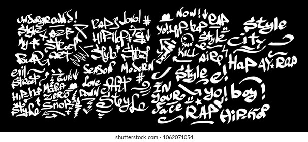 Many graffiti tags on a black background. Vector art.