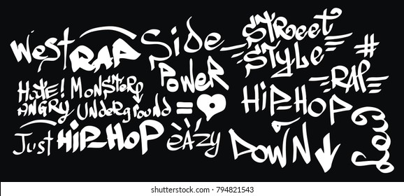 Many graffiti tags on a black background.