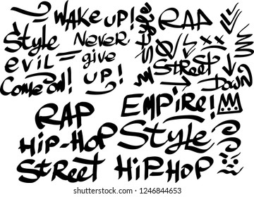 Many graffiti tags on a white background. Vector art