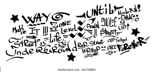 Many graffiti tags on a white background. Vector art.