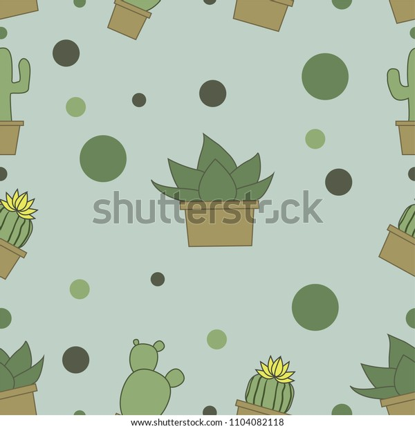 many green cactuses on the yellow background.
