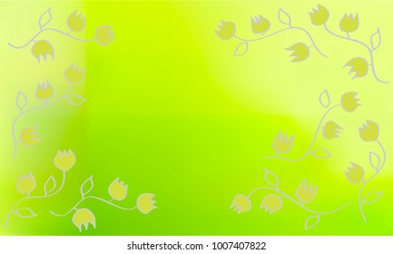 Many Green Flowers with Leaves and Stems on Green and Yellow Gradient Background