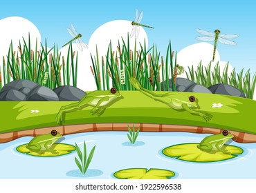 Many green frogs and dragonfly in the pond scene illustration