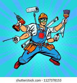 Many hand Builder repairman worker. Comic cartoon pop art retro vector illustration kitsch vintage drawing