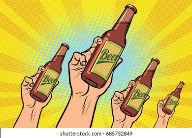many hands with a bottle of beer. Pop art retro vector illustration