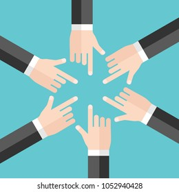 Many hands of businessmen blaming and pointing at each other. Responsibility, misunderstanding, problem and conflict concept. Flat design. Vector illustration, no transparency, no gradients