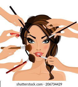 Many hands with cosmetics brush doing make up of glamour girl vector illustration