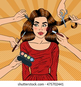 Many Hands Doing Glamour Make up for Young Woman. Pop Art Vector illustration