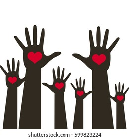 Many hands with heart up  . Vector illustration