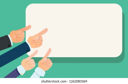 Many hands pointing to the banner. Important information. Pointing finger. Attract attention. Business vector illustration.