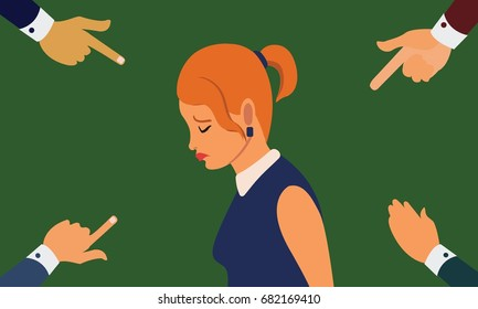Many hands pointing the sad upset woman looking down. Mobbing, bullying at workplace concept illustration vector.