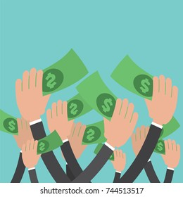 Many Hands Reach Money Vector Illustration