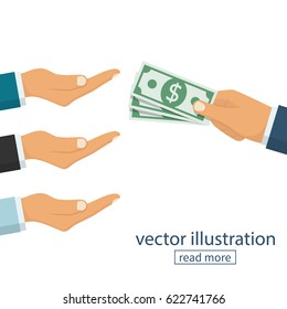 Many hands reaching out for money. Hand holding cash. Give salary. Employer and staff. Vector illustration flat design. Isolated on white background.