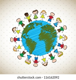 many happy children around the world vector illustration