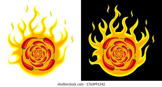 Many hot red mexican chili peppers on the background of a circle of fire. Logo, illustration for spicy hot Mexican, Indian dishes, sauces. Vector isolated in two designs for cooking