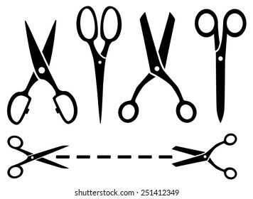 many isolated black scissors set on white background