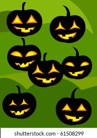 Many jack o' lanterns over green background. Halloween vector