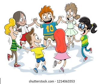 Many kids dancing together in a circle
