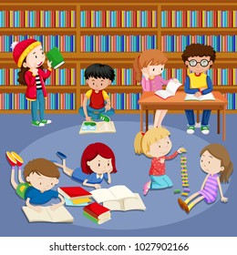 Many kids reading books in library illustration