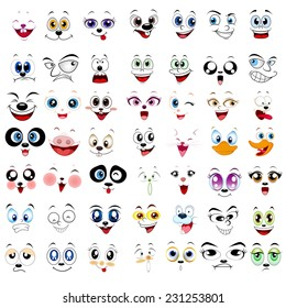 Many kind of illustration of faces on a white background