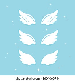 Many kinds of wings cartoon illustration, angel, angel wings, feather wings, angel, goodness.vector illustration and icon.