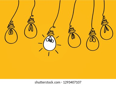 Many lamps hanging from above. Light bulbs icon concept of idea. Vector on yellow background. Contour line.