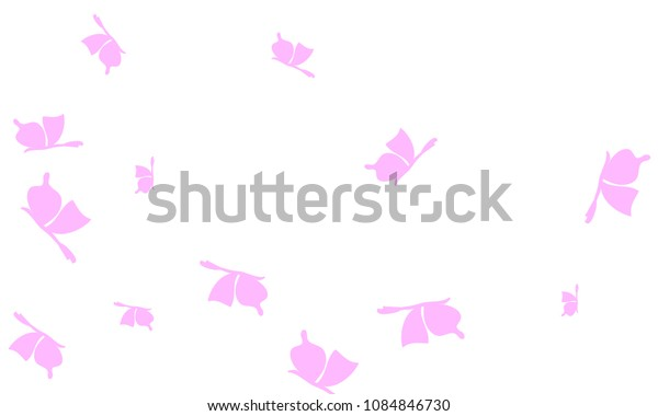 Many Light Pink Butterflies on White Background