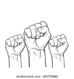 Many a man's fist, vector illustration sketch of three human hands raised up, drawn by hand, color art concept of resistance, strength, majority, fight, defending rights of society