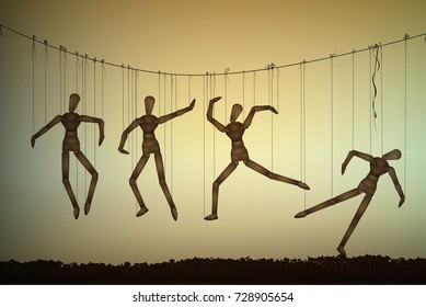 many marionette in different positions hanging on the threats and one is falling, meaninglessness of life concept, vector