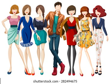 Many models wearing fashionable clothes