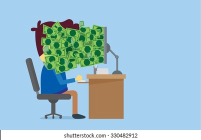 Many money out of computer screen to the man face which he is working.