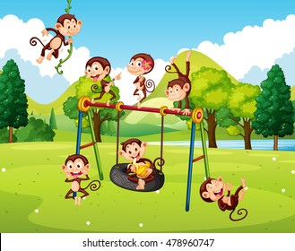 Many monkeys in the park illustration