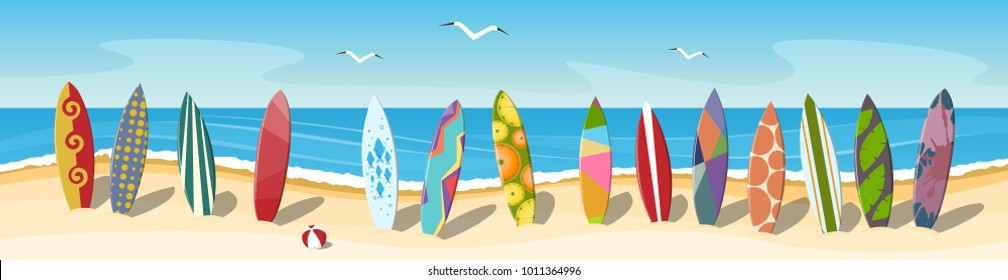 Many multi-colored surfboards on the beach. Panorama. Vector illustration