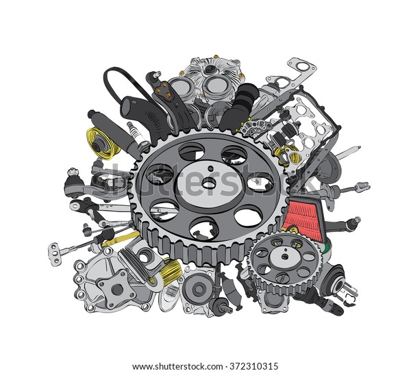 Aftermarket Auto Parts >> Many New Auto Parts Aftermarket Oem Stock Vector Royalty