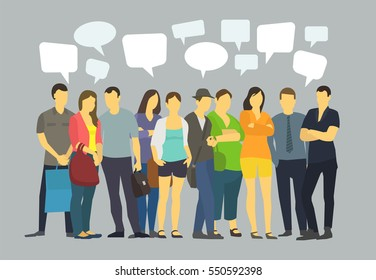 Many ordinary people crowd talking. Communication with speech bubbles.